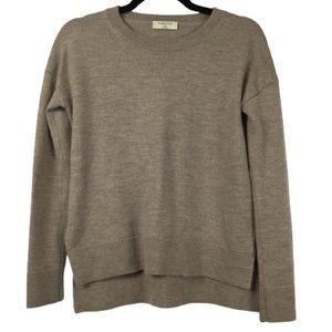 Babaton Merino Wool Crewneck Pullover Sweater Tan